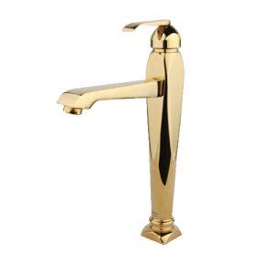 شیر روشویی پایه بلند مدل آلیس طلایی راسان