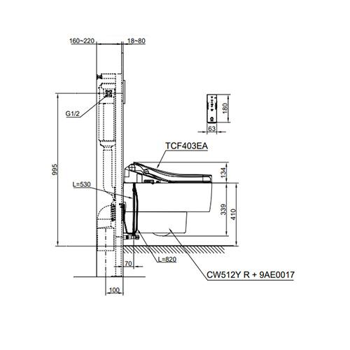 توالت فرنگی وال هنگ توتو مدل CW512Y